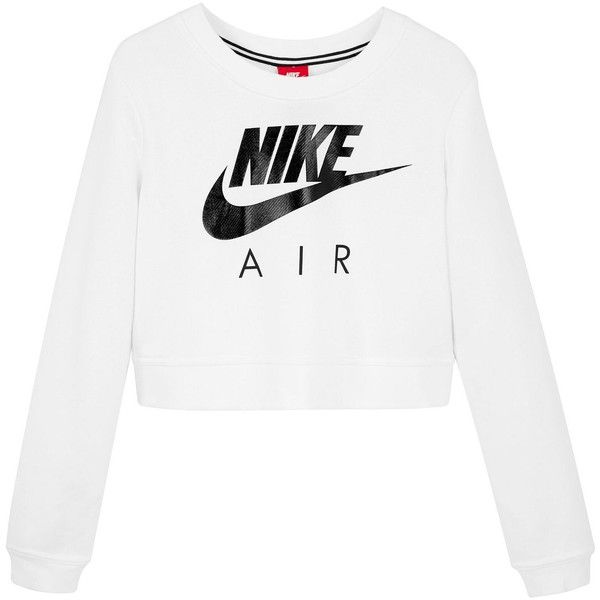 Nike Sportswear Modern Crew Cropped Sweatshirt (155 BRL) ❤ liked on Polyvore featuring tops, hoodies, sweatshirts, white crop top, nike sweatshirts, crew top, cropped sweatshirt and white top