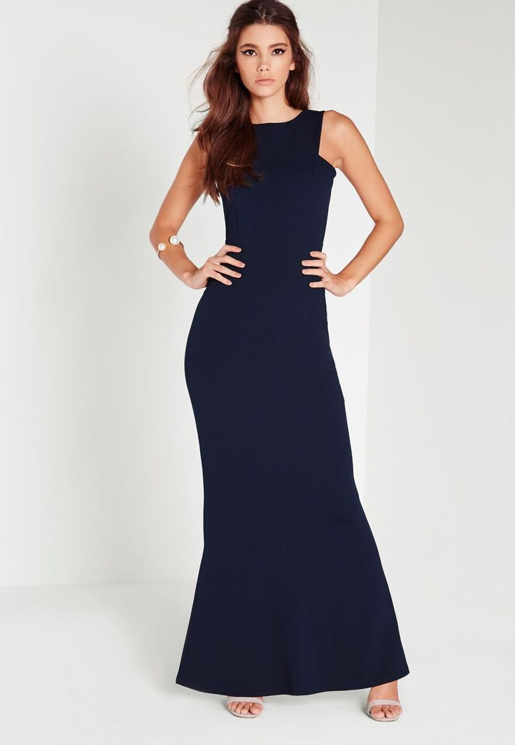 Missguided - Low Back Maxi Dress Navy