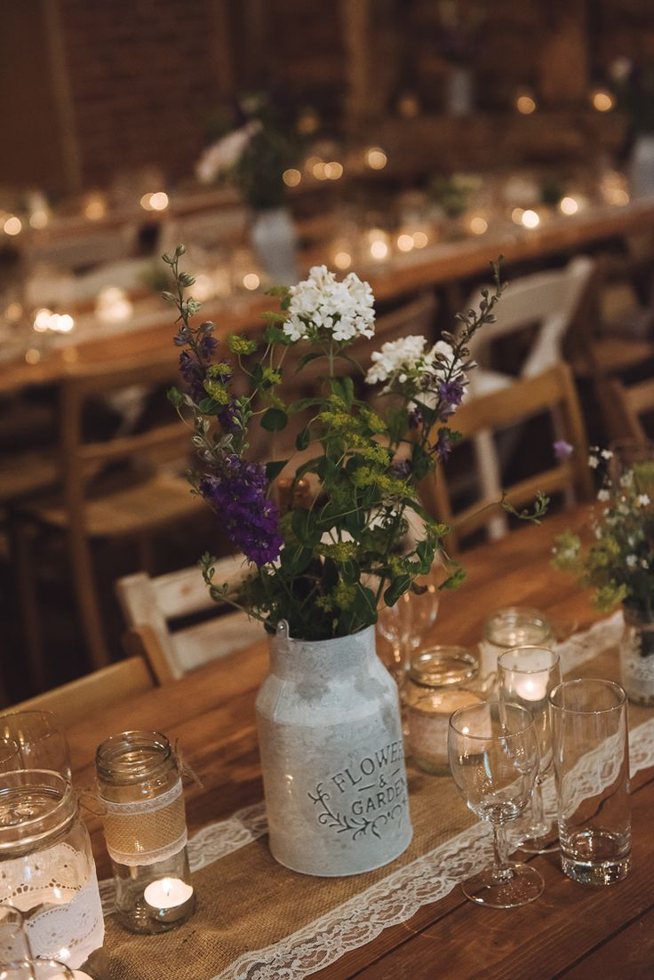 Metal Jug Urn Flowers Table Decor Rustic Home Made Country Barn Wedding http://lisahowardphotography.co.uk/