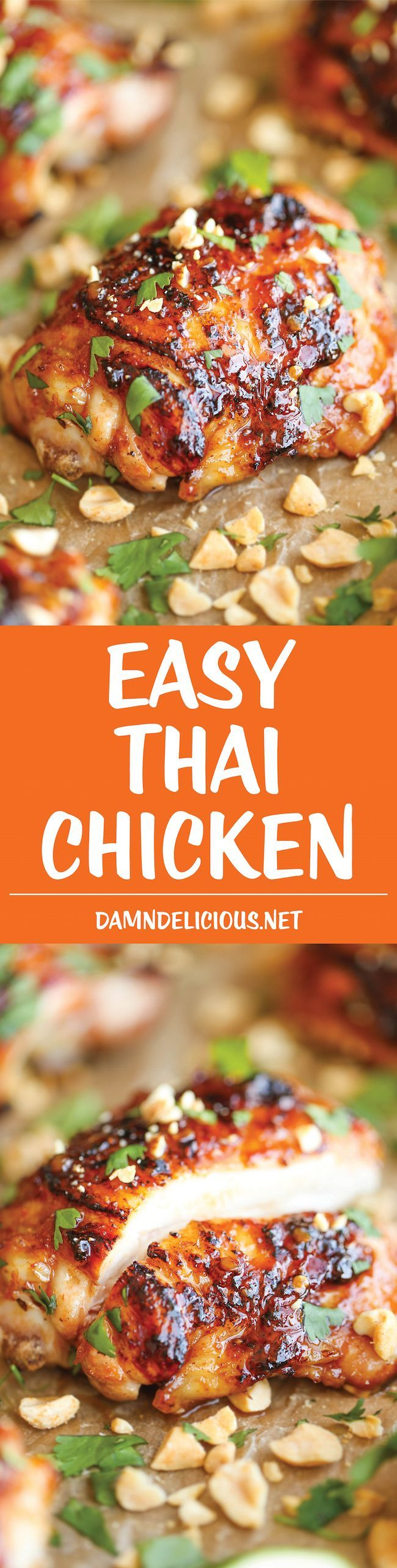 Easy Thai Chicken - So sticky, so tender, so moist and just packed with so much flavor. And it's an easy peasy weeknight meal, made in 30 minutes or less!