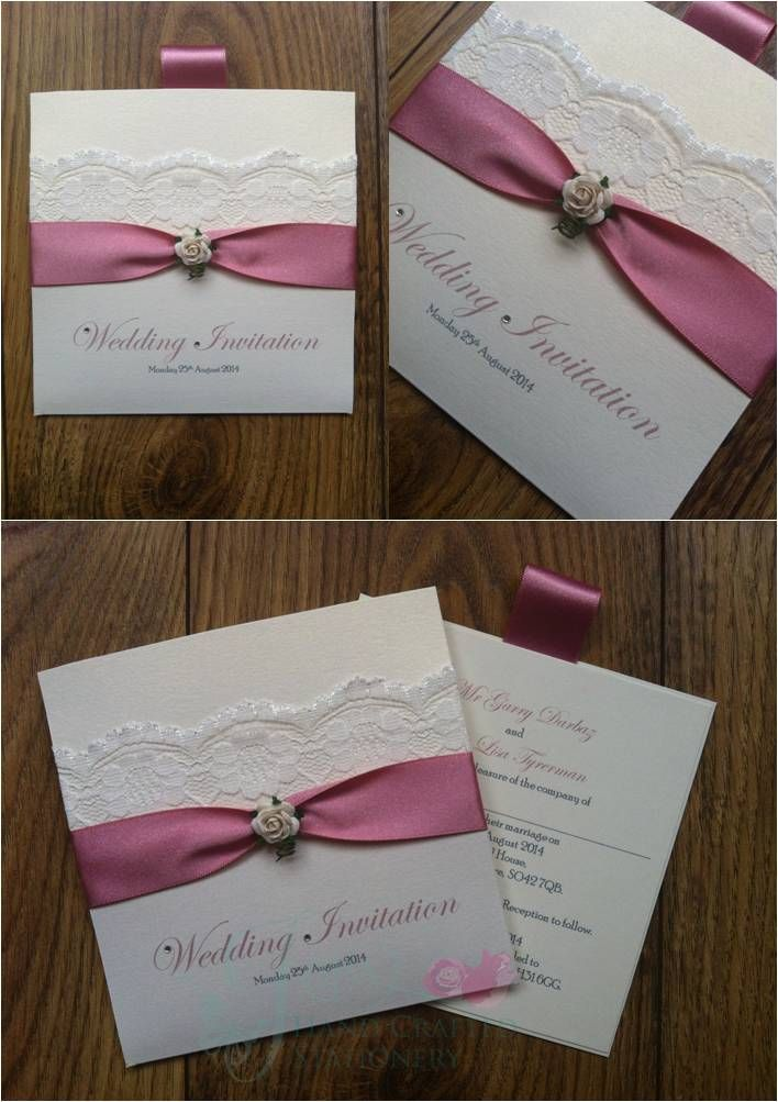 Dusky Pink and Lace Wallet Wedding invitation with rose  www.jenshandcraftedstationery.co.uk www.facebook.com/jenshandcraftedstationery