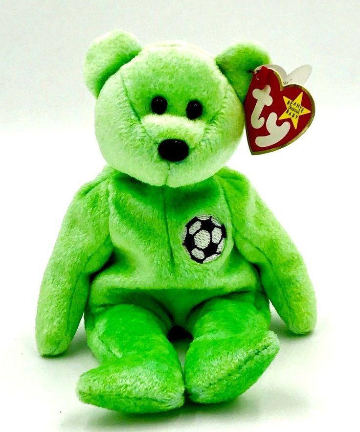 Ty beanie buddies collection Kicks football soccer teddy bear soft toy 1998 tags