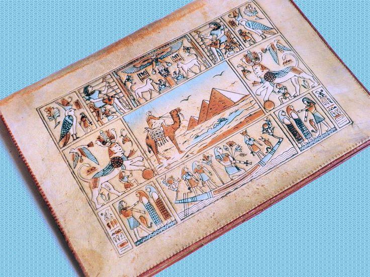 Oude leren schrijfmap souvenier uit Egypte ca 1960 verzamelobject door TresbeLLL op Etsy