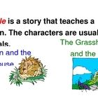 "This product is a poster that defines ""fable."" It is illustrated with two examples, The Lion and the Mouse and The Ant and the Grasshopper...."