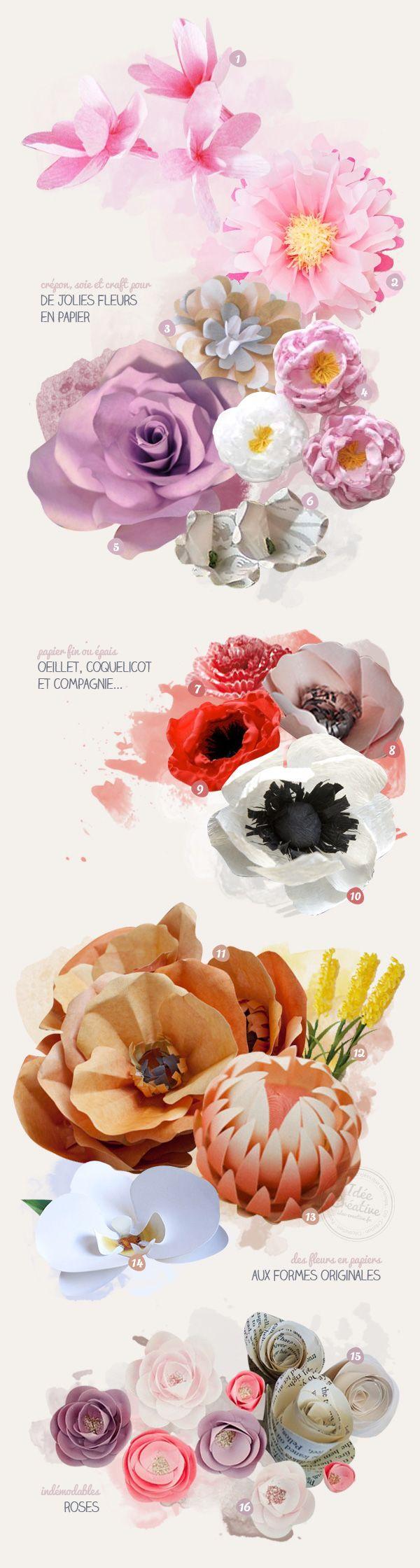 16 idées pour créer de jolies fleurs en papiers | Idée Créative