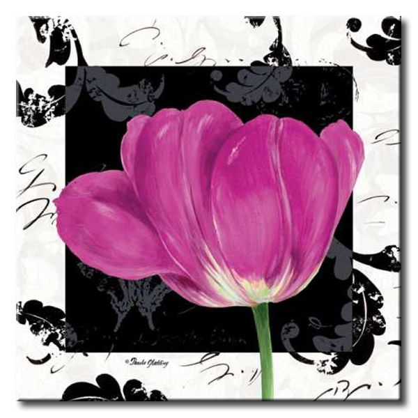 GlA_483_Damask Tulip II / Cuadro Flores, Flor lila sobre fondo vintage moderno