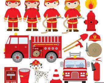 Firefighter Clipart Fire Engine Clipart by SunshineLemons