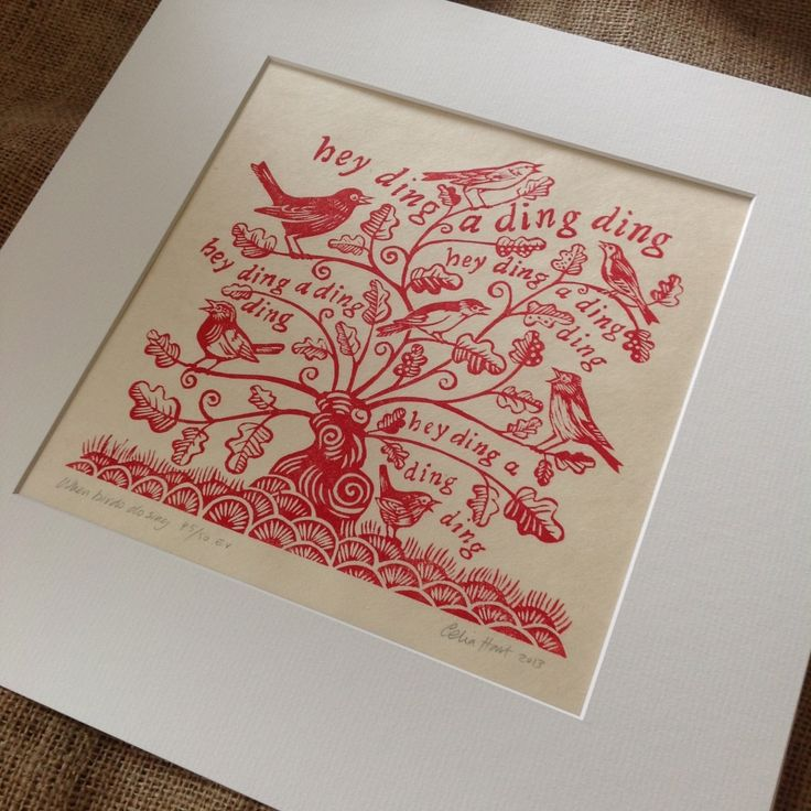 This print is featured in the Special Christmas Edition of Country Living Magazine (UK). A chorus of English songbirds - Robin, Blackbird, Willow Warbler, Chaffinch, Great Tit, Nightingale and Wren - in a coppiced tree. The words are from the song 'It was a Lover and his Lass' from William Shakespeare's play 'As You Like It', c. 1600. You can read more about the design of this print on my blog. unframed linocut, in an Antique-White textured board mount ...