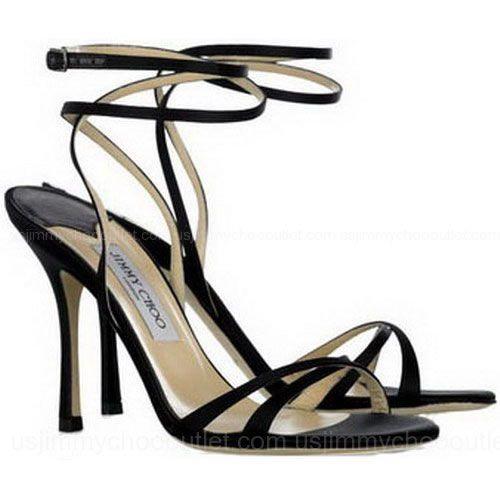 Jimmy Choo Suave Satin Sandals Black