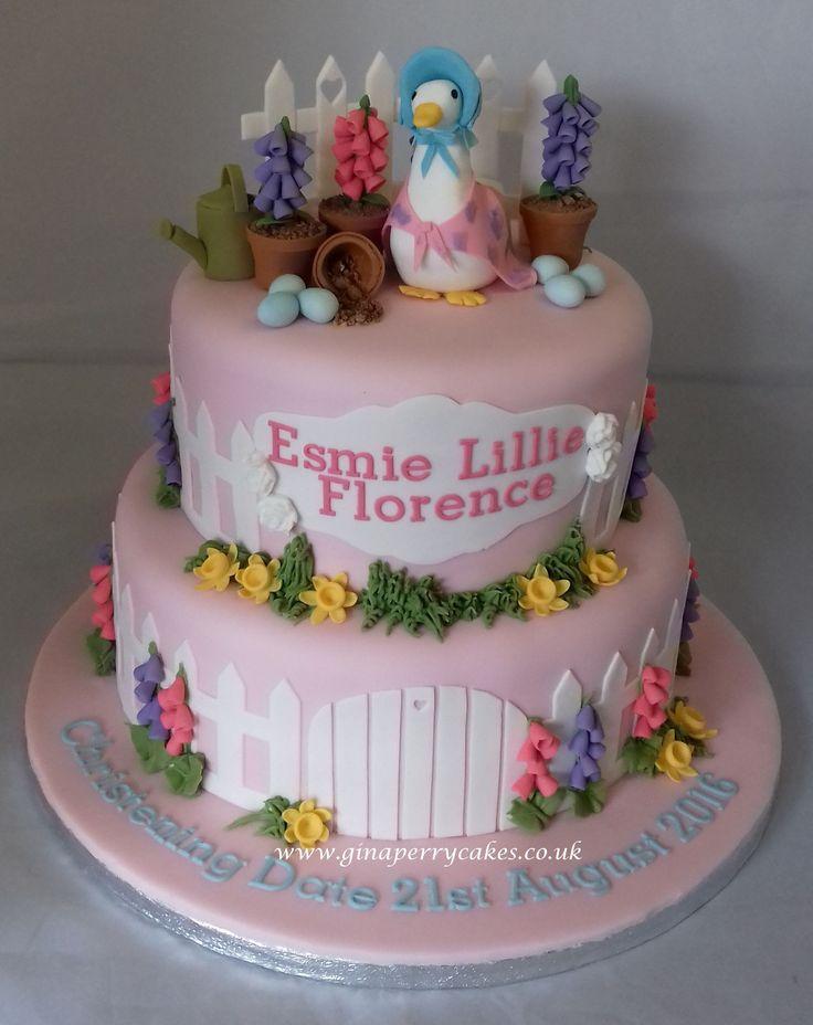 Beatrix Potter's Jemima Puddleduck themed Christening cake