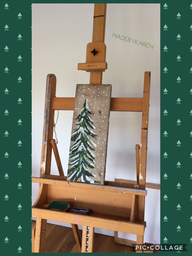Kerstboom geschilderd op steigerhout met acrylverf.