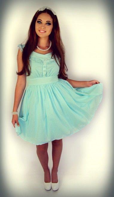 Paper Doll Motif Dress (Aqua)