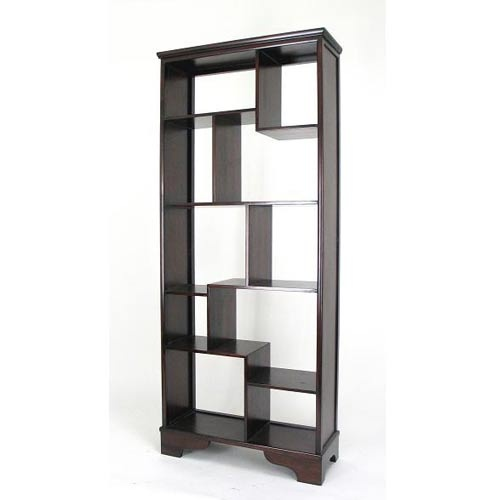 Dark Brown Vertical Asian Storage Shelves Wayborn Furniture Free Standing  Shelves & Bookca