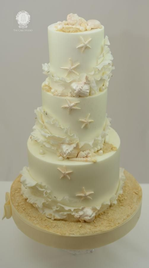 Beach Themed Cake  with Ruffles and shells  - Cake by Sugarpixy