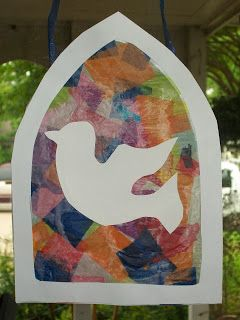 This is a fairly quick and easy Pentecost craft that actually looks pretty nice once finished. First, cut out the inside of two frames (we u...