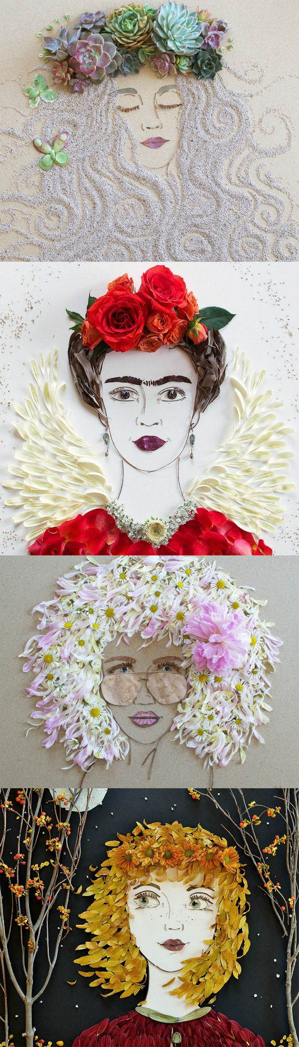 Chicago-based artist Vicki Rawlins constructs whimsical portraits of enigmatic women using flowers, greenery, sand and other organic objects. These unconventional works of art are captivating not only for their creativity but also for their ephemeral journey to creation and destruction.