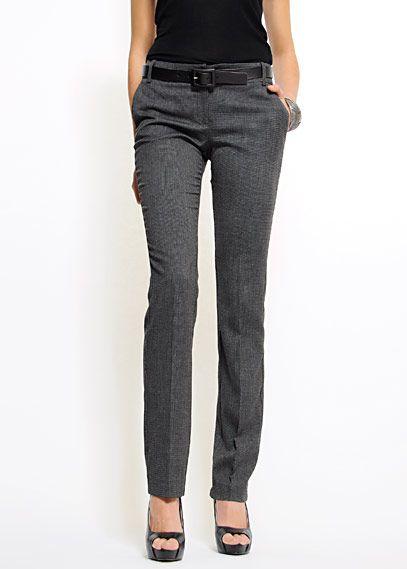 Outlet - MUJER - Pantalón de talle alto y pernera recta