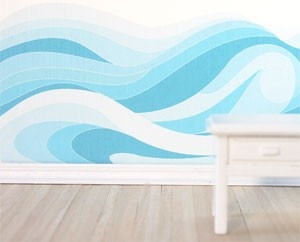 Traceable Wall Mural - Ocean Waves   for BELOW the chair rail?? But in deeper ocean blues (maybe some the same midnight as the ceiling?)