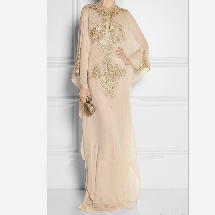 2016 Новая Мода Дубай Мусульманин С Длинным Рукавом Шампанское Бисером Абая в Дубае Женщин Шифон Мусульманские Вечерние Платья(China (Mainland))