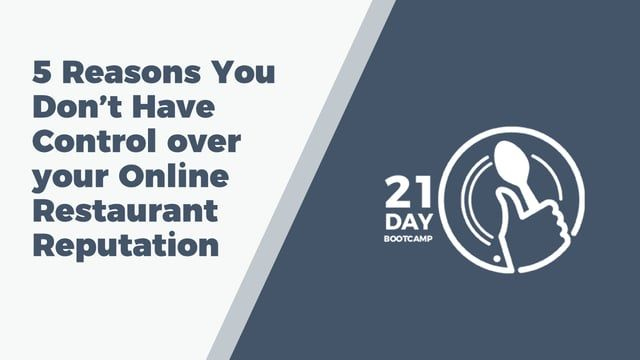 This is an excerpt of the Restaurant Reputation Bootcamp master course:  http://restaurantreputation.co/course  we discuss the 5 simple but major reasons that most restaurants do not have control over their online reputation. In the master course we go into detail on how to resolve each of these problems/reasons.