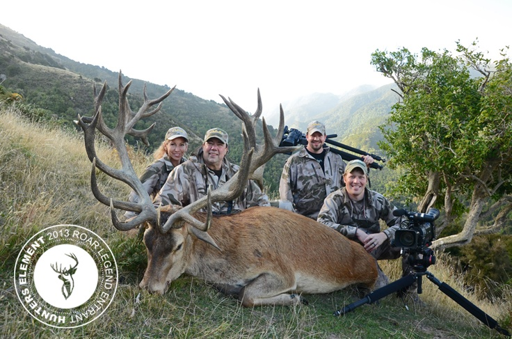 Louis Cusack and his Alaskan Outdoors TV crew posing with this absolute beast of stag!