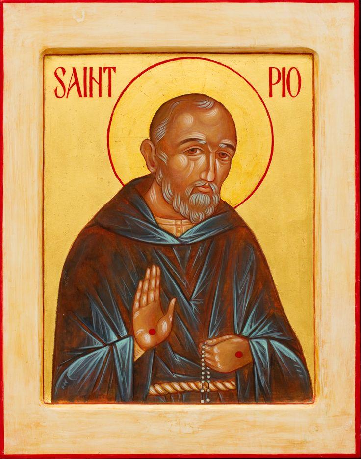 "Padre Pio, through the hand of Kathy Sievers, 11 x 14"" egg tempera"