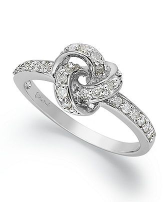 Diamond Ring, Sterling Silver Diamond Love Knot Ring (1/10 ct. t.w.)