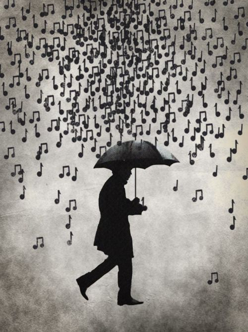 Y el cielo vibra en una hermosa melodía... la lluvia