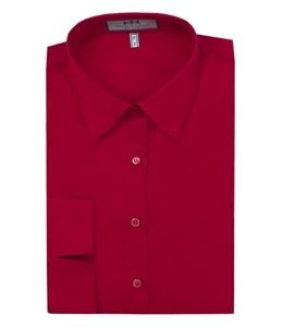 Women's Plain Red Fitted 3 Quarter Sleeve Shirt - Low Collar