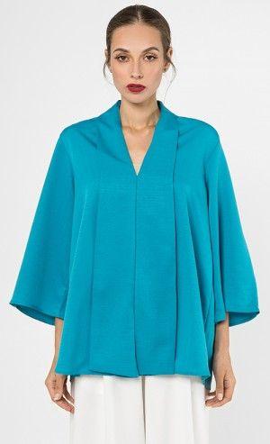 Loose Kebaya Top in Teal Blue