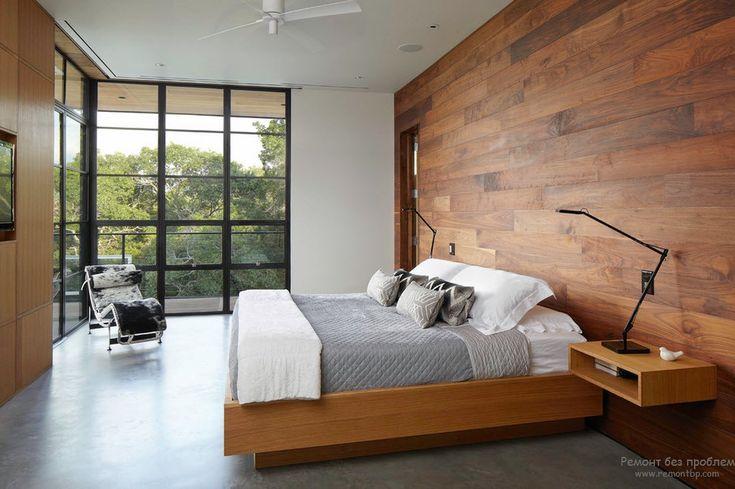 Декорирование стены спальни деревянными обоями