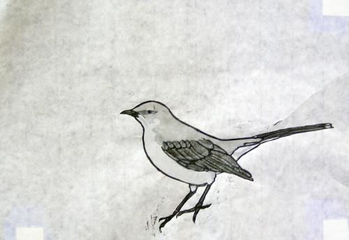 Mockingbird I is a 4 color plus black Japanese woodblock print, carved and printed by the artist in an edition of 15.
