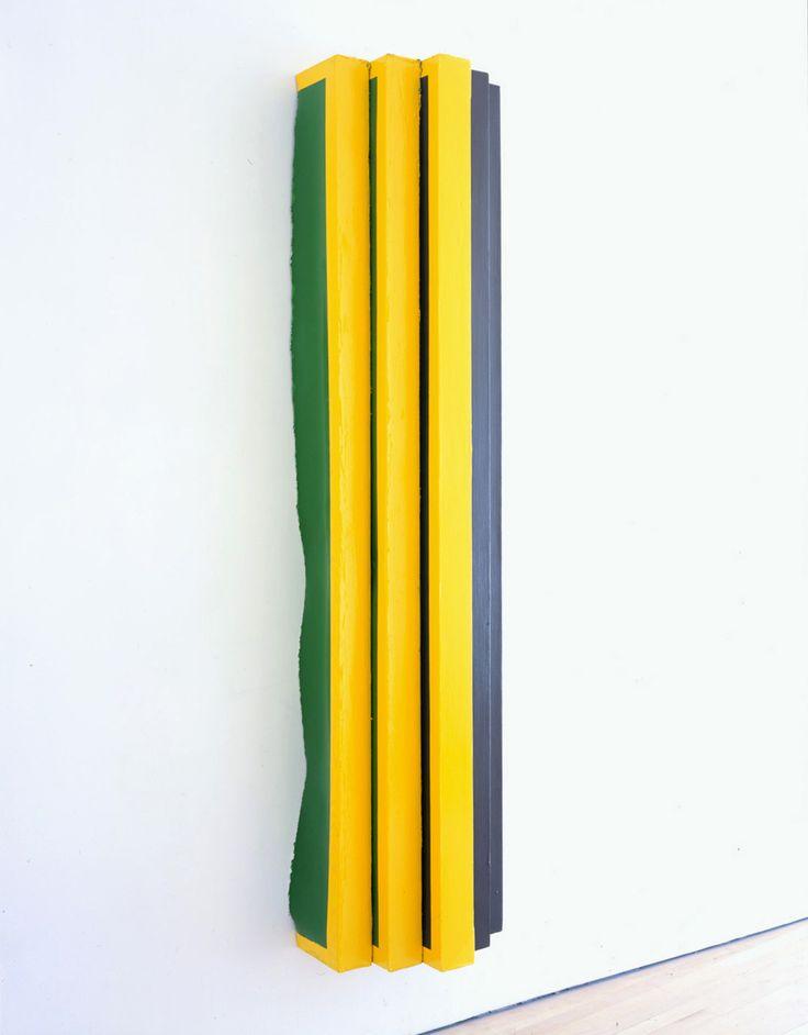 Vertical V (yellow/pink) | Angela de la Cruz | Artists | Lisson Gallery
