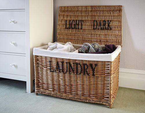 Lights And Darks Laundry Hamper Basket Wicker Storage