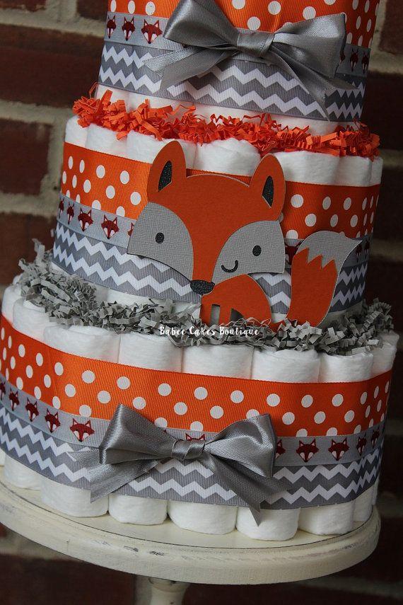 3 Tier Fox Diaper Cake Boys Woodland Baby by BabeeCakesBoutique
