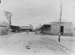 Looking down Gill Street towards Mosman. Campbell's Commercial Hotel faces Queen's Hotel on Gill Street ...