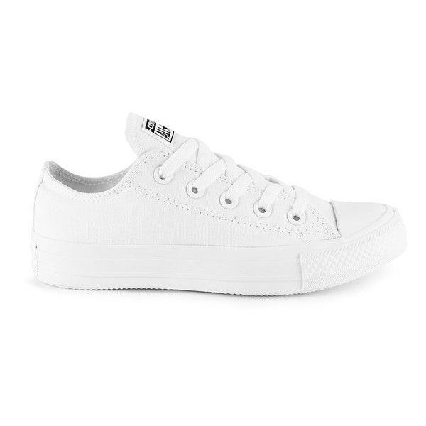 Converse Unisex Chuck Taylor All Star OX Canvas Trainers (£45) ❤ liked on Polyvore featuring shoes, sneakers, zapatos, converse, trainers, white, white sneakers, white low tops, star sneakers and plimsoll sneaker