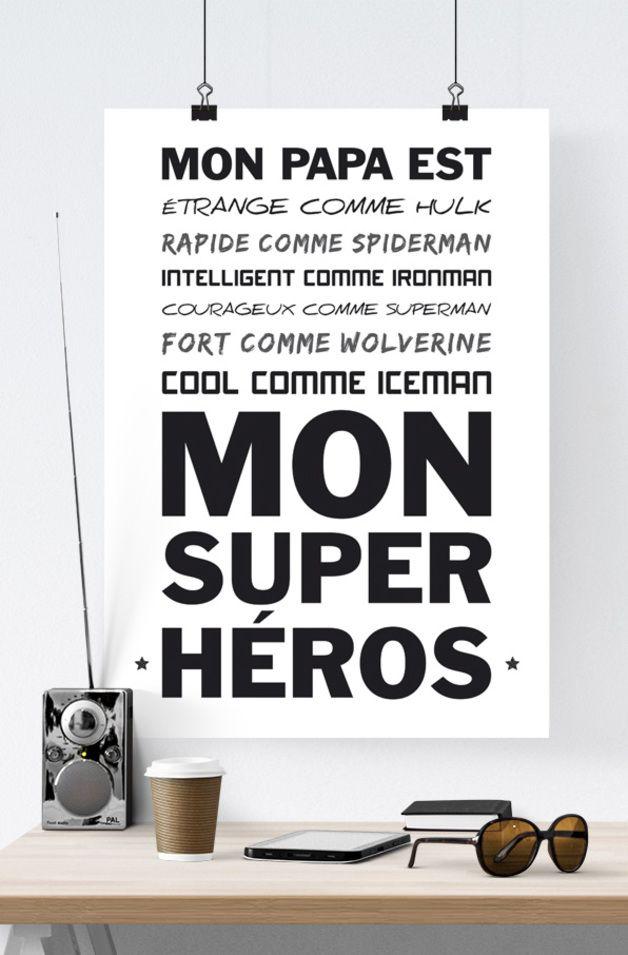 Impressions numériques, Affiche Super Héros Papa - Fête des Pères est une création orginale de RGB4YOU sur DaWanda