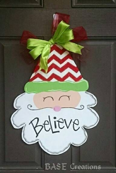 Santa Face Christmas door hanger by BASECreations on Etsy