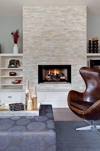 Fireplace with bookshelves and TV shelf bench  For the Home  Home fireplace Home Decor