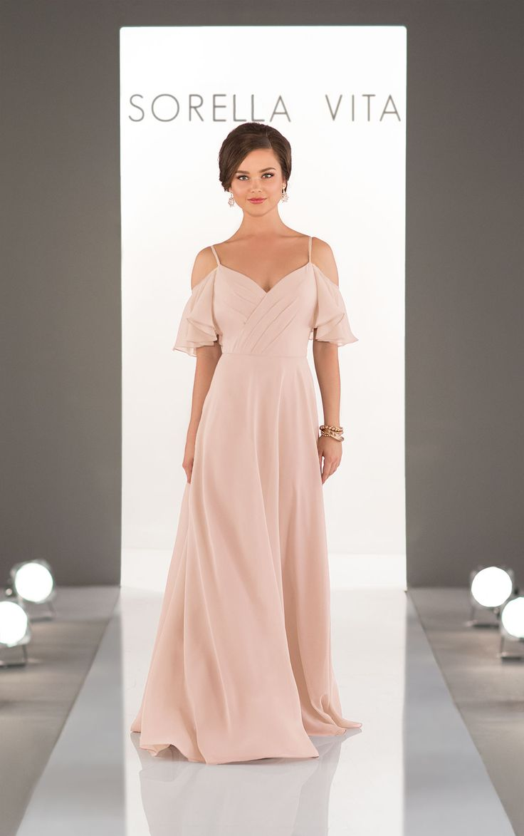 (I3223)Soft, romantic, and perfectly-boho, this ruched chiffon gown with a criss-cross V-neck from Stella York is ideal for your laidback, romantic bridal party.