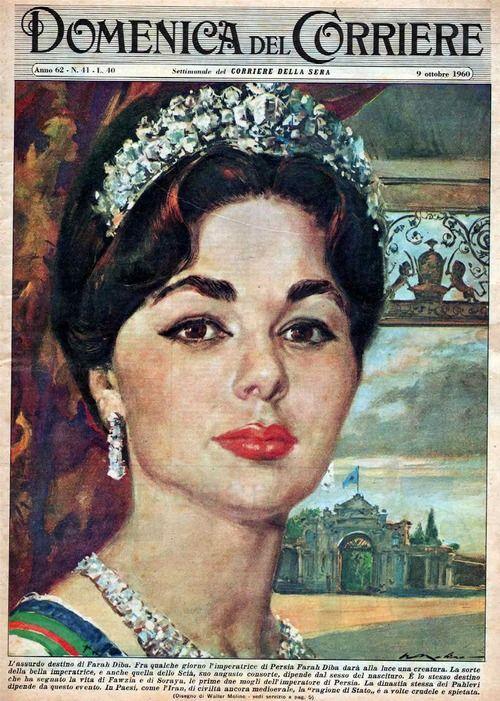 Empress of Persian Farah Diba, Domenica del Corriere (1899-1989), October 1960  via iranicapictura