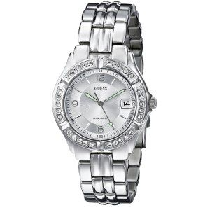 GUESS Women's Mid-Size Sporty Chic Silver-Tone Watch