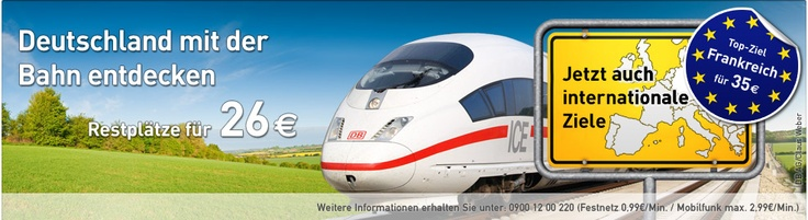 Many of us stationed overseas don't know that you can get last minute rail travel within Germany for 26€ and to destinations outside for 35€.  These special last minute Deutsche Bahn tickets can be found 2-6 days out from travel and are a GREAT deal! See what deals you can find.  L'Tur is also a great German travel booking site.  I can help with translations over at Life Lessons Military Wife.