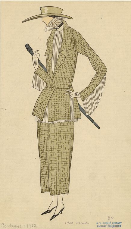 Women'S Olive Green Outfit With Fringe, France, Ca. 1922.] From New York Public…