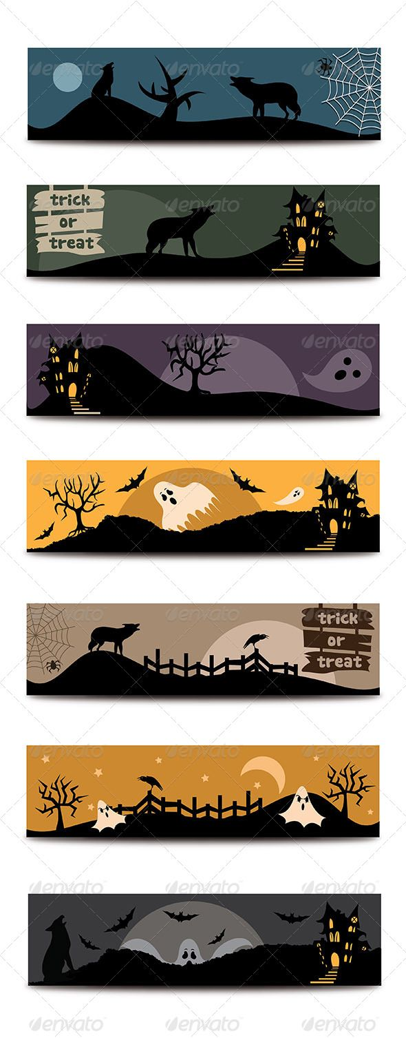 Halloween Flat Banners Set #GraphicRiver Halloween flat banners set contains 7 different, horizontal spooky web banners designed for Halloween.