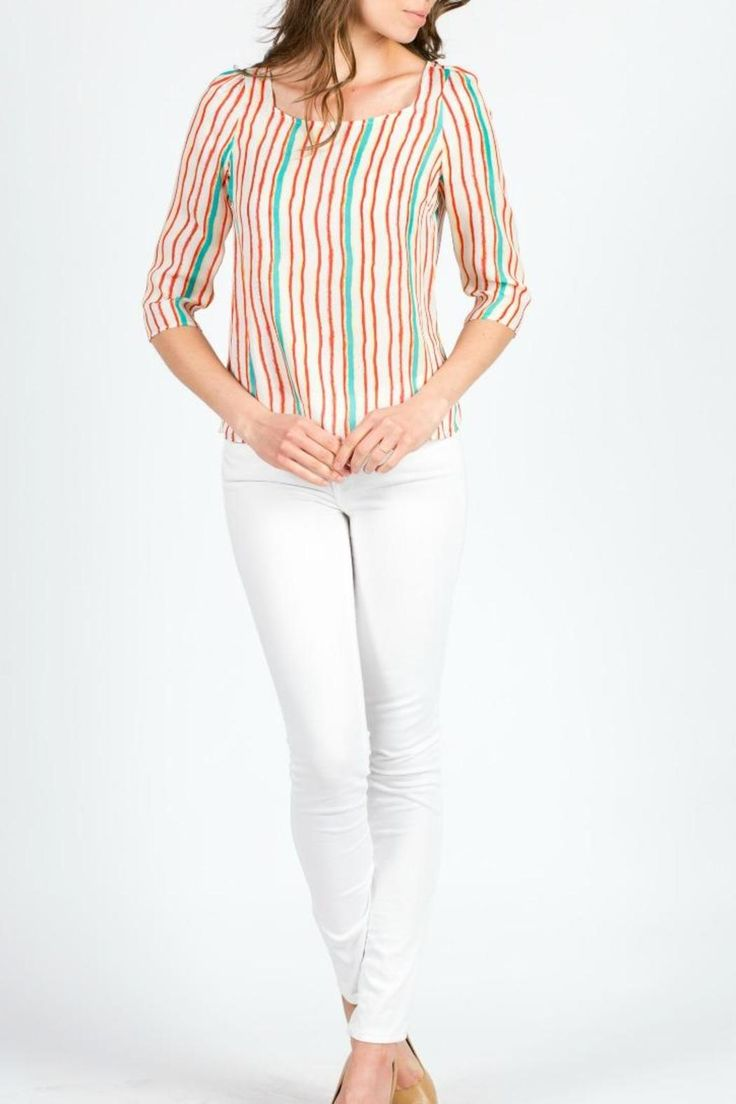 Ellelauri's Kiki top is perfect for early spring and summer. Its multicolored which is perfect to wear with white denim or aruba blue denim. For care purposes make sure you take it to your local dry cleaners.  Stripped Kiki Top by ellelauri. Clothing - Tops - Long Sleeve Philadelphia Pennsylvania