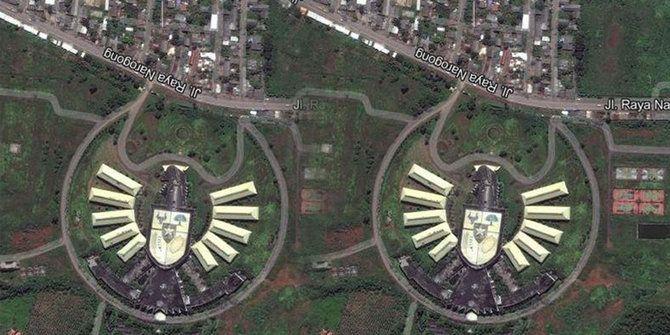 Gedung Garuda, Kebanggan Indonesia, Kini Rata dengan Tanah Dari hasil pantauan satelit, bangunan gedung Garuda ini masih berdiri kokoh dari tahun 2006 sampai 2013. Kini, berdasarkan peta dari Google Maps, bangunan ini sudah tak nampak, hanya hamparan tanah berpasir yang terlihat. Jalan Narogong, Cileungsi, Bogor – Gedung Garuda, atau dikenal dengan Graha Garuda Tiara Indonesia