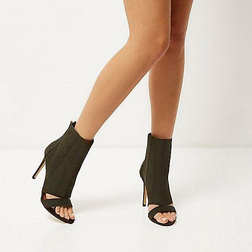 Kaki gebreide peeptoe-laarsjes met hakken - laarzen - schoenen / laarzen - dames