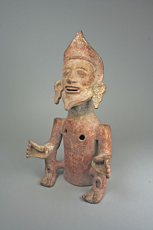 Seated Figure (Xantil) ~ 13th-15th century ~ Mexico, Mesoamerica ~ Eastern Nahua ~ Ceramic, pigment ~ Bequest of Nelson A. Rockefeller ~ Metropolitan Museum of Art